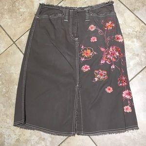 Distressed Appliqué Skirt